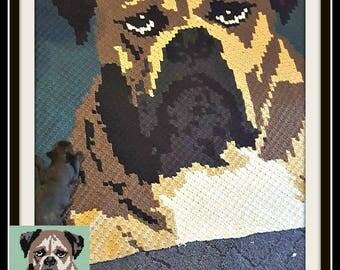 British Bulldog C2C Graph, British Bulldog Crochet Pattern, British Bulldog Graphghan