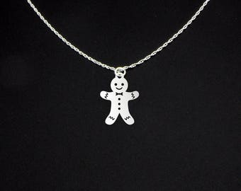 Gingerbread Man Necklace - Gingerbread Man Jewelry - Gingerbread Man Gift