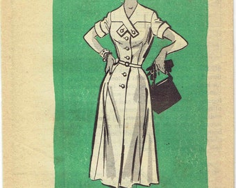50s Shirtwaist Dress Pattern Anne Adams 4620. Cross Tab Detail Bodice, Flared Skirt, Sleeve Options. Half Size 16.5 Bust 37 in.