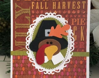 Thanksgiving Hand Embossed TURKEY Card