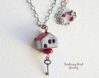 House Necklace, Small Red Ceramic Pendant with Sterling Silver Key Charm and Chain, Lampwork Bead, Home Sweet Home