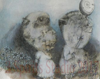 "Original art brut neo expressionist Symbolist Mixed Media Small Drawing- ""Led Astray"""
