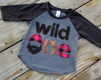 Wild One Lumberjack First Birthday Shirt,Lumberjack Raglan, Lumberjack Birthday, Buffalo Check Shirt, 3/4 Sleeve, Wilderness Man, Logger Man