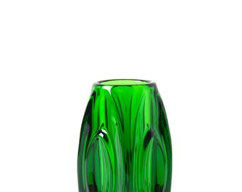 Vintage Rosice Glassworks Lens Bullet vase 914 green - Sklo Union glass vase - 60s Czech mid century modernist space age home decor