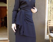Black Magic Woman- Vintage 40s Dress - size Medium - Black