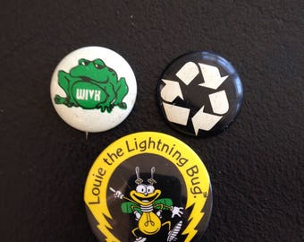 Vintage Pins Recycle Buttons WIVK-FM Knoxville Tennessee Frog Badges