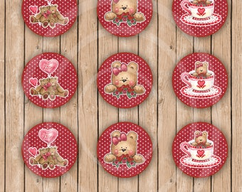 Teddy Bear Balloon Favor Bags Valentines Day Treat Bag Favor Tags Cupcake Toppers Love stickers Valentine stickers Kids Valentine Stickers