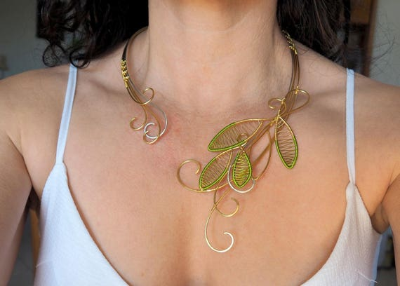 Statement necklace large bib artistic necklace Wire wrapped Pink Gold Gemstone flower nature jewelry Modern Gift for women her Mothers day