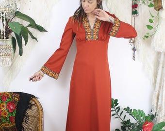 70s Bohemian Maxi Dress, Vintage Boho Dress Bell sleeves Folk Floral, Medium, 3798