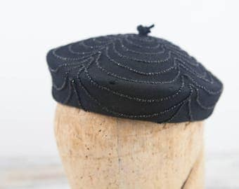 Vintage beret style beaded hat, Black wool w/ black glass beads, cascade design from the top by The Fair