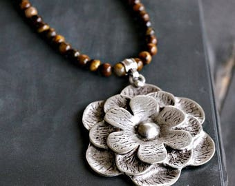 Silver Lotus Flower Necklace Bead Necklace Statement Jewelry