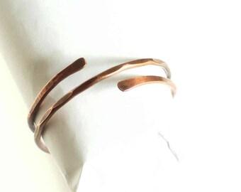 Bangle Copper Adjustable Overlapping Bangle Forged Copper Wire Copper Bangle Antiqued Copper Handmade Hand Made
