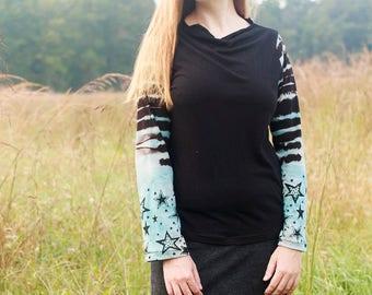 Stars in the Night Sky, American Grown Organic Cotton Top, Stars Screen Printed and Shibori Shirt