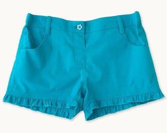 Turquoise Ruffle Shorts
