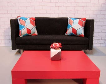 1:12 scale Modern Dollhouse Coffee Table in Geranium Red