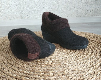 Felted brown ankle booties - wool minimalist shoes