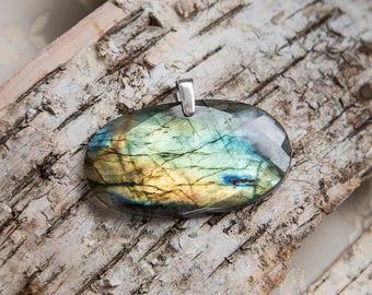 Huge faceted labradorite pendant, green gold, large natural untreated labradorite, gorgeous flash spectrolite stone, sterling silver
