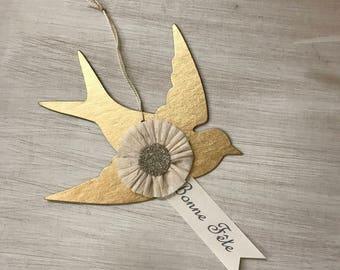"""Christmas Ornament French Bird """"Bonne Fete"""" White Christmas Gold Gilt Ormolu Silver Mercury Glass Handmade Marie Antoinette"""