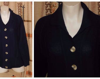 SALE Vintage Sweater 1960s Dark Blue Long Sleeve Cardigan Cable Knit Cardigan Sweater Rockabilly XL chest to 46 in