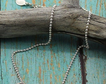 Sterling Silver Bead Chain, Casual Everyday, Layering Chain;  16, 18, 20, 24 or 30-Inch Lengths
