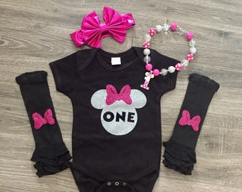 FREE SHIPPING! Minnie Mouse Birthday Outfit, Minnie Mouse Birthday Shirt, Girls 1st Birthday Outfit, Minnie Mouse Outfit, Baby Leg Warmers