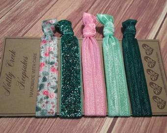 Elastic Hair Ties * Set of 5 * Green & Pink Floral FOE * Green Glitter No Crease Hairtie * Hair Band Bracelet