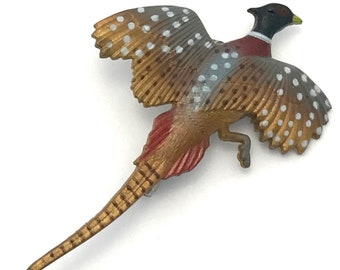Vintage Pheasant Pin/Brooch, Painted Pheasant Pin, Vintage Pin, Pheasant, Flying Pheasant Pin, Vintage Plastic Pheasant Pin
