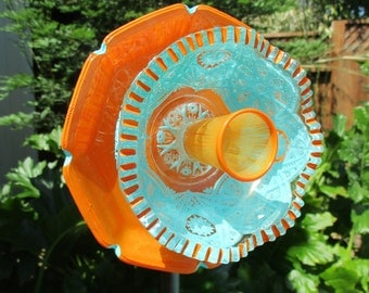 Reserved for Cami Glass Plate Flower - Re-Purposed Glass Flower Garden Art - Hand Painted Bright Orange & Turquoise - Garden Stake