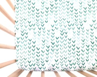 Crib Sheet Green Watercolor V. Fitted Crib Sheet. Baby Bedding. Crib Bedding. Crib Sheets. Green Crib Sheet.