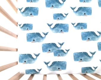 Crib Sheet Whale Pod. Fitted Crib Sheet. Baby Bedding. Crib Bedding. Minky Crib Sheet. Crib Sheets. Whale Crib Sheet. Blue Crib Sheet.
