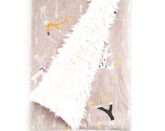 Baby Blanket Painted Antlers Blush. The Cloud Blanket. Faux Fur Baby Blanket. Minky Baby Blanket. Antler Baby Blanket.
