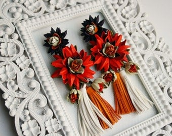 Multicolor leather flower and  tassel earrings