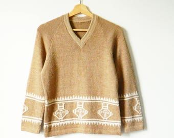 Cappuccino Brown Vintage Tribal Sweater / Aztec 70s Statement Sweater / Cozy Wool Tribal Boho Sweater