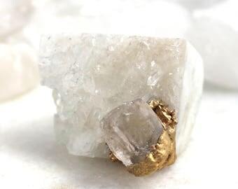 crystal quartz ring, statement ring, morganite ring, raw gemstone, gold ring, carved ring, druzy ring, crystal ring, beryl ring