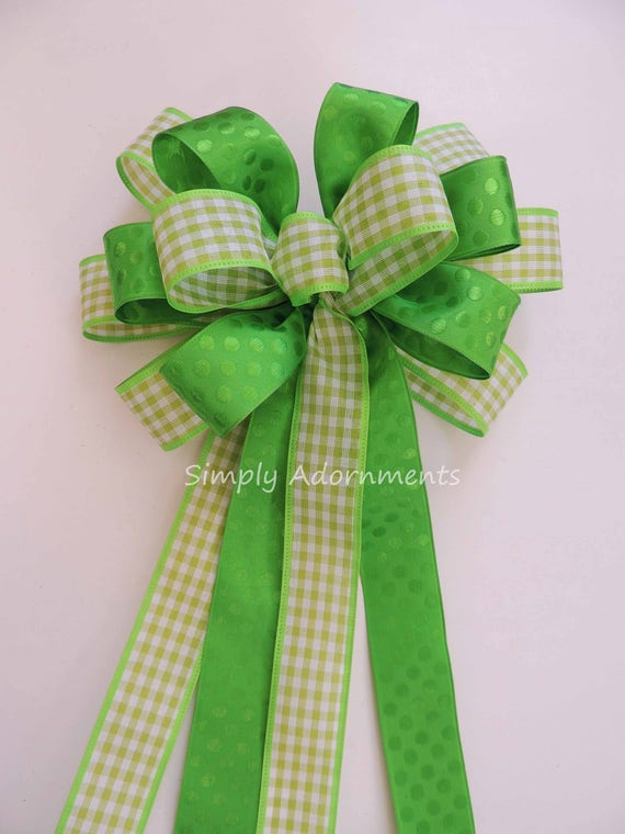 Lime Check Dots Wreath Bow Green Spring Gingham Bow Spring Green Wedding Pew Bow Green Birthday Party Decor Bridal shower party Decoration