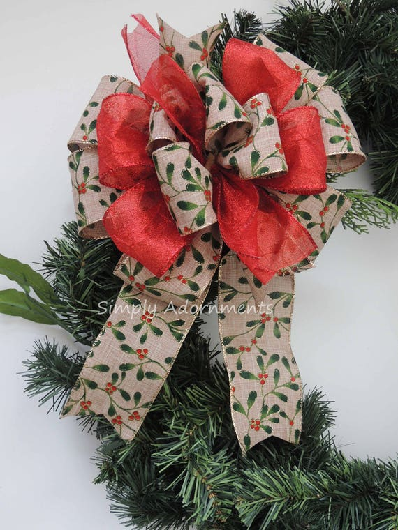 Christmas Red Berry Bow Whimsical Christmas Holly Berry Bow Berry Teardrop Swag Bow Berry Wreath Door Bow Red Berry Gift Bow