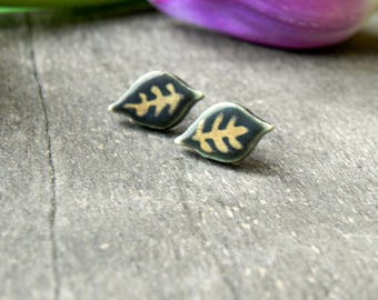 Gold Dark Green Boho Ceramic Leaf Earring Studs, Unique Green Porcelain Earrings Small 18 karat Gold hand painted Studs, Surgical Steel Post