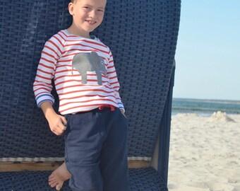 toddler long sleeve shirt, elephant shirt, red white striped toddler shirt, organic toddler clothes, organic kids shirt, 100% organic cotton