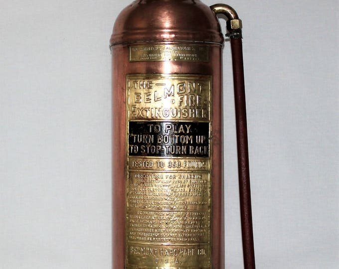 Antique Copper and Brass Belmont Fire Extinguisher, Belmont Hardware Co. USA