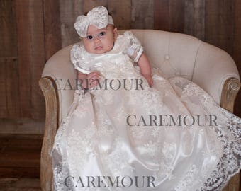 Lace Christening Gown - Christening Gown, Baptism dress, Baptism dress for baby girl, christening gown girl, baptism gown