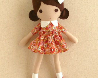 Fabric Doll Rag Doll Small 15 Inch Doll, Brown Haired Girl in Red and Yellow Floral Dress with Red Mary Janes