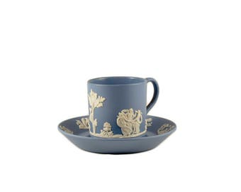 Vintage Flat Demitasse Cup & Saucer Set in Cream Color on Lavender (Pale Blue) Jasperware // Jasperware Wedgwood 1955
