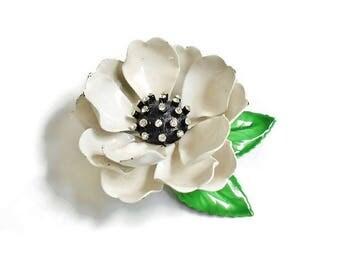 White Flower Brooch, Dimensional Black and White Flower Blossom Rhinestone Center Vintage Dress Scarf Pin