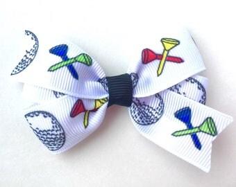 Golf bow - golf hair bow, sports bow, 3 inch bows, girls hair bows, girls bows, toddler bows, pinwheel bows, golf