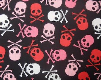 Pink and Black Skulls, Skull & Crossbones, Lady Pirates - 100% Cotton, By the Half Yard
