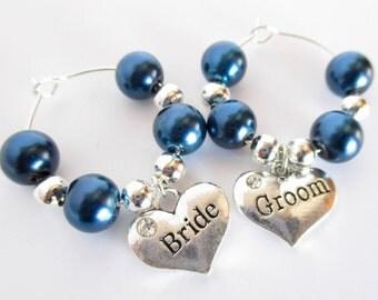 Bride and Groom Wine Charms , Wine Glass Wedding Charms, Bride and Groom Flutes, Wedding Wine Tags, Wedding Wine Glass Charms, Wine Charms