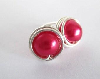 Fuchsia Earrings, Pink Jewelry, Pink Earrings, Pink Earrings Etsy, Wire Earrings, Women'sJewelry, Stud Earrings, Wire Wrapped Jewellery