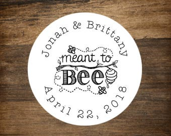 """Wedding stickers, set of 63 personalized favor labels. 1"""" round stickers. Meant to Bee design. Bridal shower or party favor stickers."""