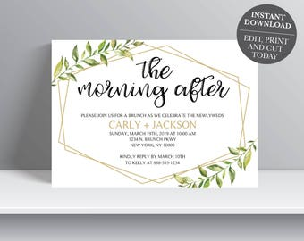 INSTANT DOWNLOAD - Greenery Wedding Brunch Invitation, The morning after, Leaf Invitation, gold greenery, Breakfast invitation, OLDP300,