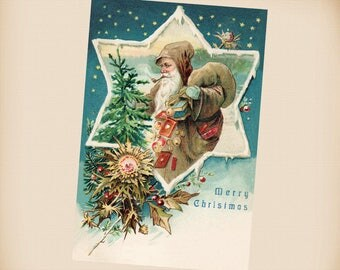 Brown Robe Santa New 4x6 Vintage Postcard Image Photo Print SC14